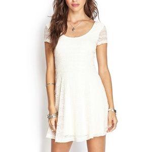 3/$25 NWT Forever 21 White Lace Skater Dress sz L